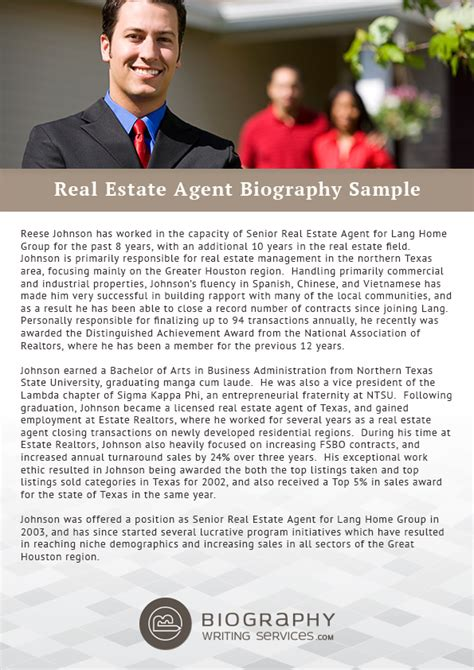 real estate bio templates real estate biography biography writing services