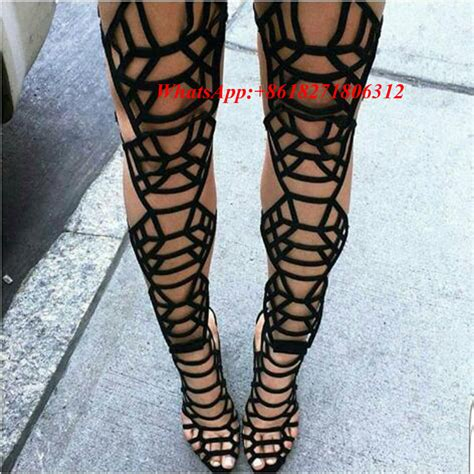 thigh high sandal boots black leather gladiator sandal boots high heel thigh