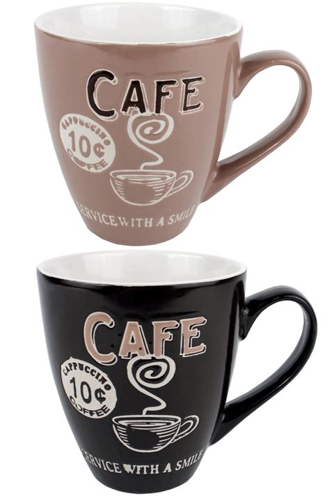 Cups Coffee Shop large retro coffee mug service with a smile coffee shop cup