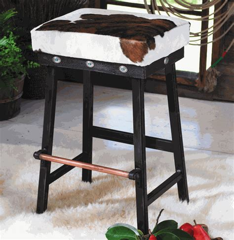 cowhide bar stools sale western furniture 24 inch cowhide iron barstool with