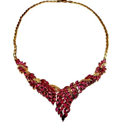 ruby gold necklace ruby necklace ruby necklace italy 14k gold