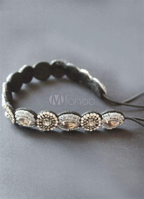 silver teen modern silver beading metal headband for teen girls