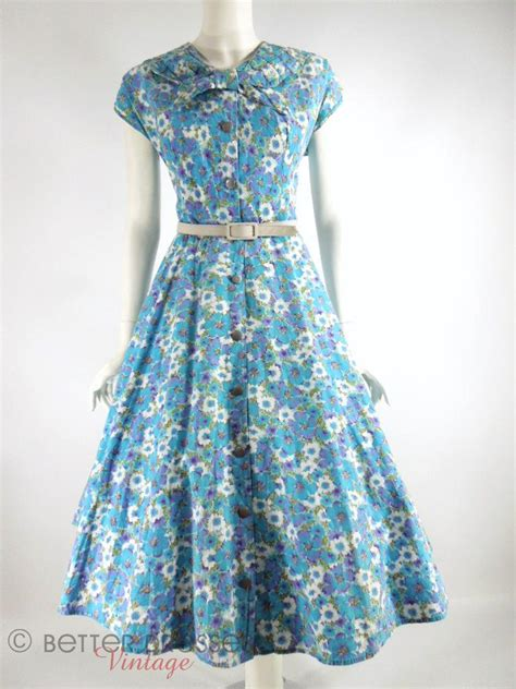 House Dress 1940s 1950s house dress blue and purple floral shirtwaist kenrose med lg better dresses vintage