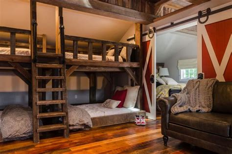 Barn Door Bunk Beds Rustic Room With Bunk Beds And Barn Door Daniel O Connell Design And Rustic