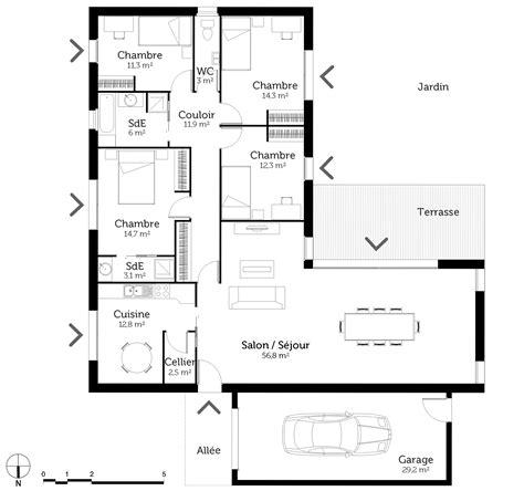 Plan De Maison 4 Chambres Plain Pied Gratuit by Plan Maison Plain Pied En L Avec 4 Chambres Ooreka