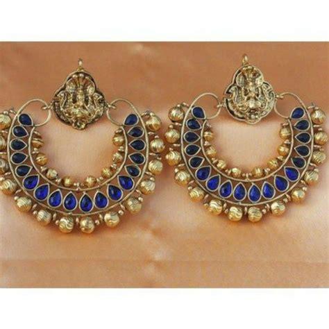 indian ram leela jewels indian earrings ram leela blue gold metal