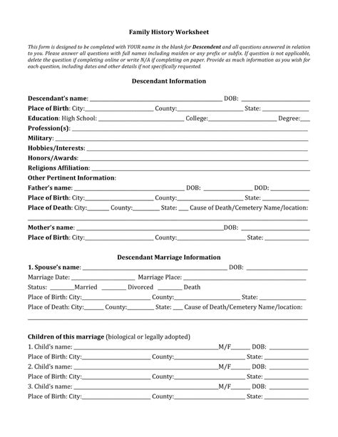 Family History Worksheet johnson professional writer and researcher