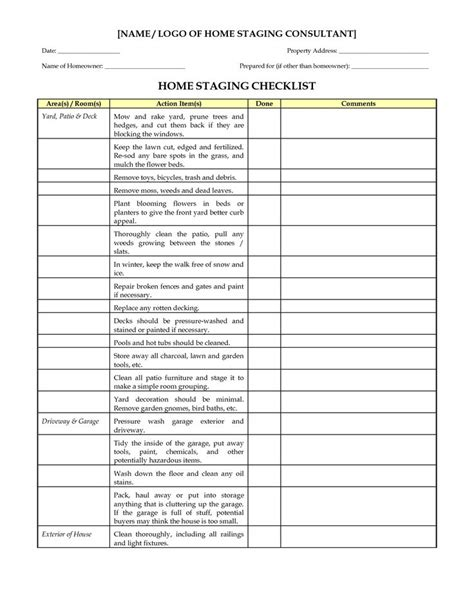 home design checklist home staging checklist marketing materials