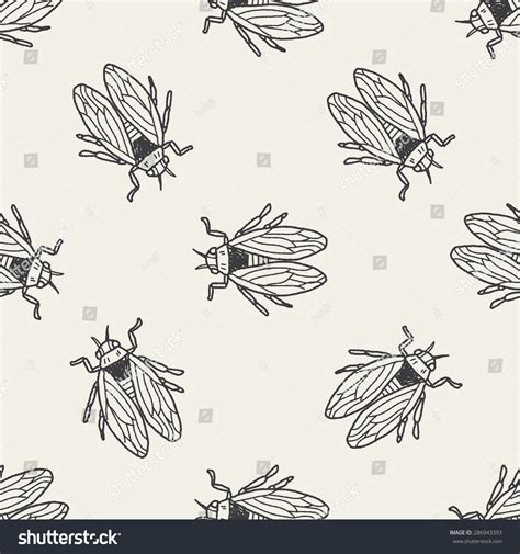 doodle fly fly bug doodle seamless pattern background stock vector