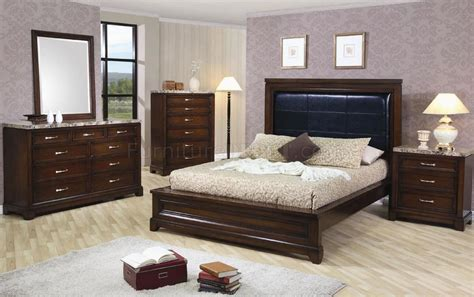 marble bedroom furniture dark oak finish contemporary 5pc bedroom set w marble tops
