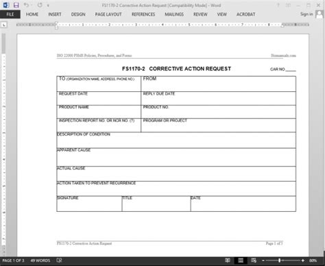 corrective report template fsms corrective request template fds1170 2