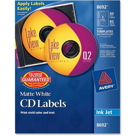 avery templates 8692 avery 8692 cd dvd label 40 pack inkjet white ave8692