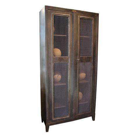 Wire Mesh Cabinet Door Panels Steel Armoire Cabinet With Mesh Panel Doors At 1stdibs