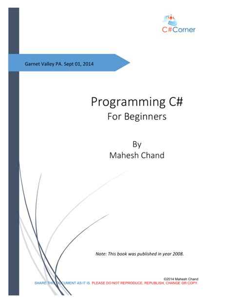 programming c tutorial beginners programming c sharp for beginners cover