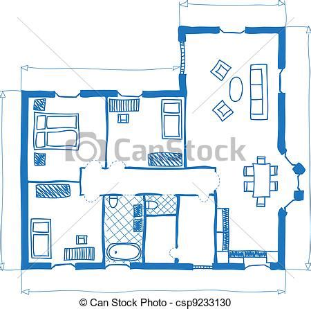 Basic Floor Plan With Dimensions vector clipart of floor plan of house doodle style
