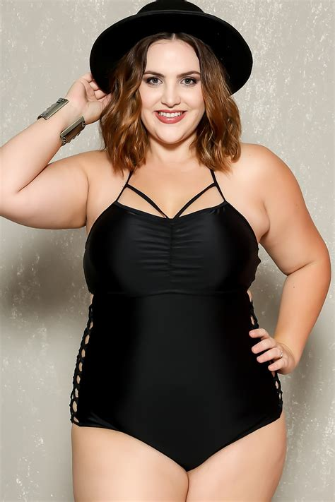one piece swimsuits plus size models sexy black strappy caged bottoms plus size one piece swimsuit
