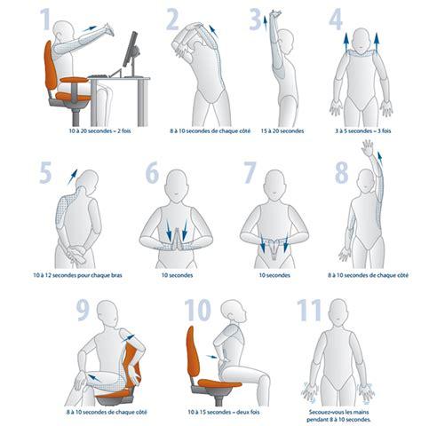 exercice au bureau ergonomie la bonne posture devant pc plusieurs