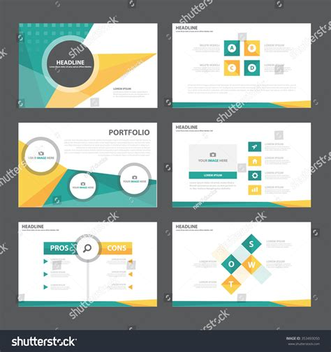 presentation template design green orange presentation template infographic elements