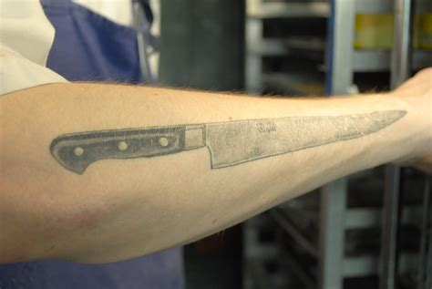 chef knife tattoo chefs tattoos just food weblog
