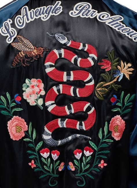 patch floral gucci gucci floral snake patch satin teddy jacket
