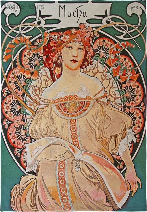 Tapisserie Mucha by Reverie Alfons Mucha Wandtapijten Mille Fleurs