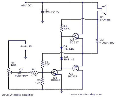 audio lifier circuit diagram with layout 250mw audio lifier circuit diagram world