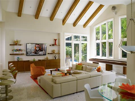 rooms in homes chic shuffleboard table for salein family room contemporary with magnificent exposed wood beams