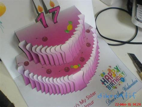 cara membuat kartu ucapan pop up ulang tahun cara bikin kartu popup atau kirigami kue ulang tahun
