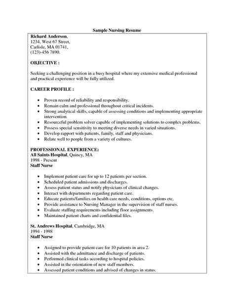Resume Sle For Rn sle resume for nursing assistant position 28 images