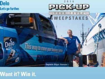 Win A Truck Sweepstakes 2016 - the 2016 delo pick up your truck sweepstakes