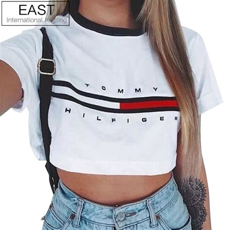Crop Tops Fashion Letter Printed T Shirt east knitting 2016 fashion summer crop top harajuku t shirt letter and logo
