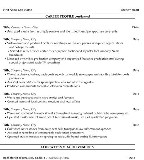 Resume Format For Journalist Multimedia Journalist Resume Sle Template