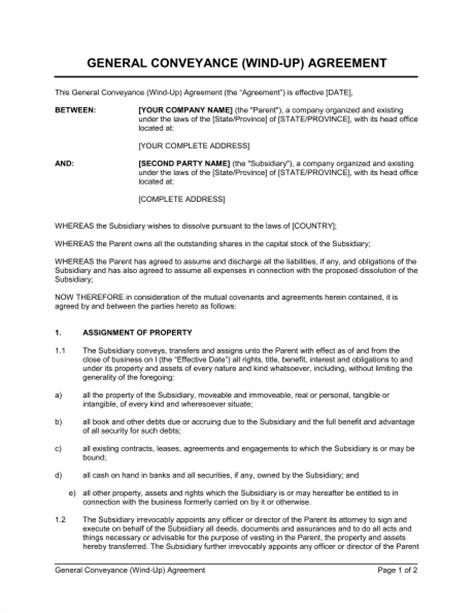 deed of conveyance template general conveyance agreement wind up template sle