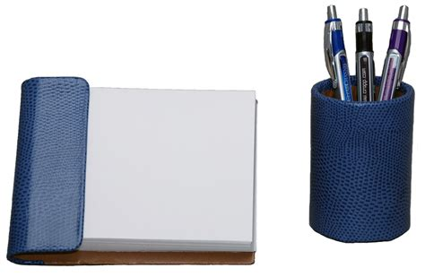 Blue Desk Accessories 2 Croco Grain Leather Desk Accessories Set