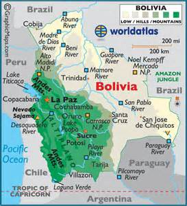 bolivia large color map