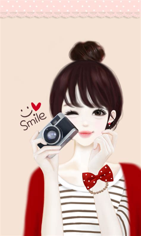 wallpaper cute korean girl cartoon 헷지 스마일찰칵 카카오톡 테마 google play의 android 앱