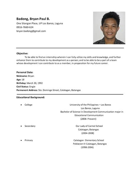 resume format exles sle resume format for students sle resumes