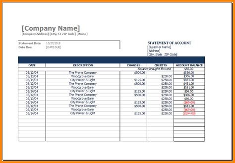 11  sample statement of account template   Case Statement 2017