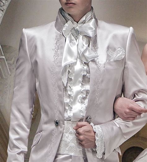 Matching Embroidered Shirt white satin beethoven ruffled shirt and nacre floral