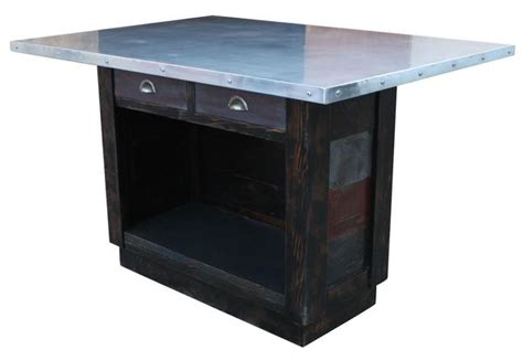 Custom Zinc Top Reclaimed Wood Kitchen Island Mortise Zinc Top Kitchen Island