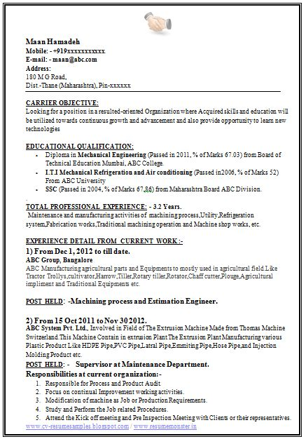 resume format for experienced mechanical engineer india 10000 cv and resume sles with free mechanical engieer resume