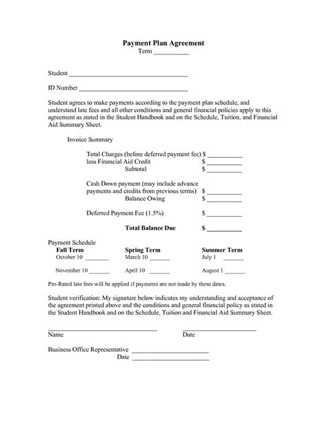 Sle Letter For Payment Plan Agreement Best Photos Of Car Payment Agreement Form Template Car