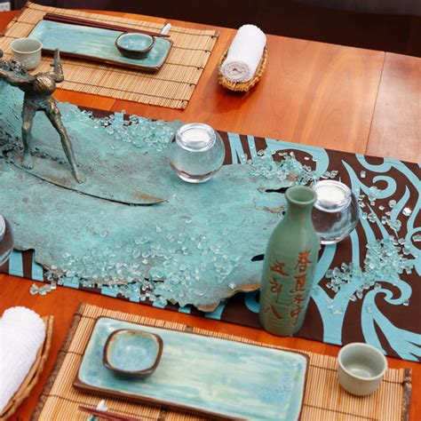 coastal decor table runners wave eco table runner in living coastal style