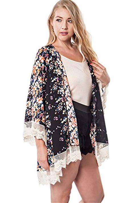 Id 896 Black Flower Kimono Cardigan vintage bohemian flower lace trim shawl cardigan chiffon
