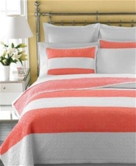 Coral Quilts And Coverlets Martha Stewart Bandeau Stripe Coral Reef Bed Quilt