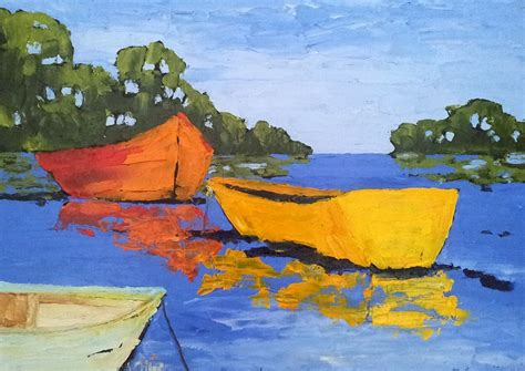 lake boats painting 18x24 landscape lynne