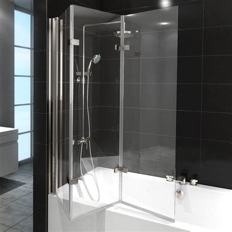 folding glass bath shower screen shower enclosure bathtub folding shower screen glass 3 pivoting parts nano ebay