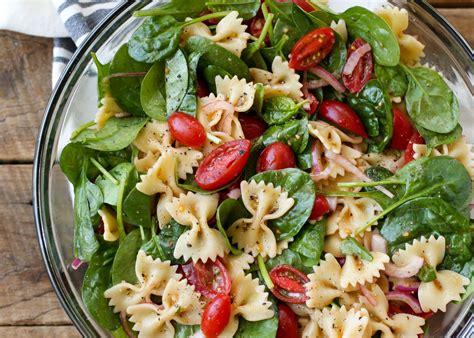 salad with pasta spinach pasta salad barefeetinthekitchen