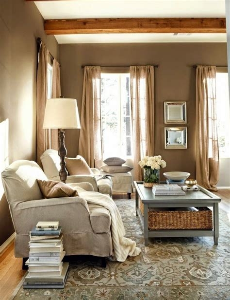 Rustic Living Room Curtains by A Rustic Living Room In Warm Tones Home Decor