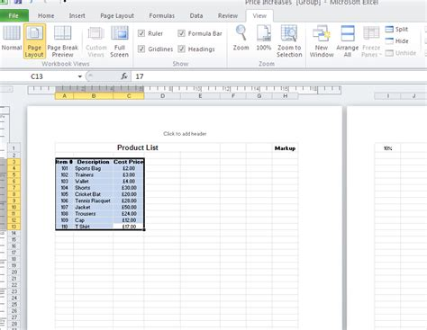 page layout view excel 2010 workbook views in microsoft excel 2010 the it training